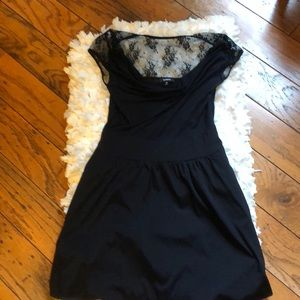 Express cowl neck & lace black cocktail dress